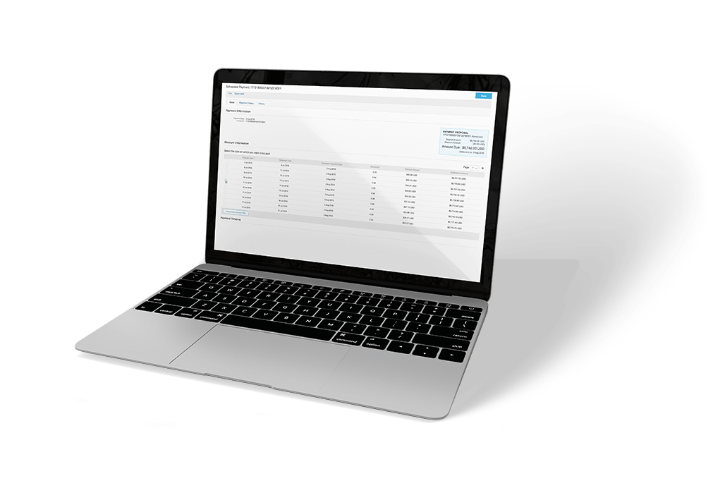 Laptop with screen showing SAP Ariba discounting software