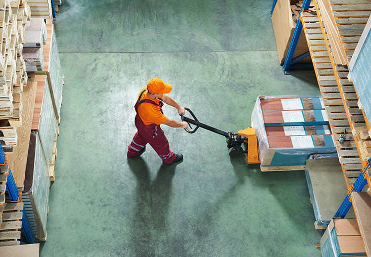 Man working on warehouse floor