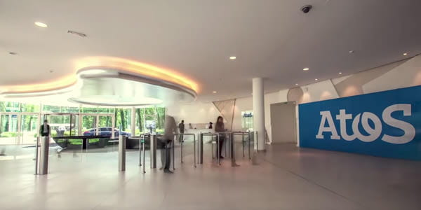 Open lobby area with Atos logo