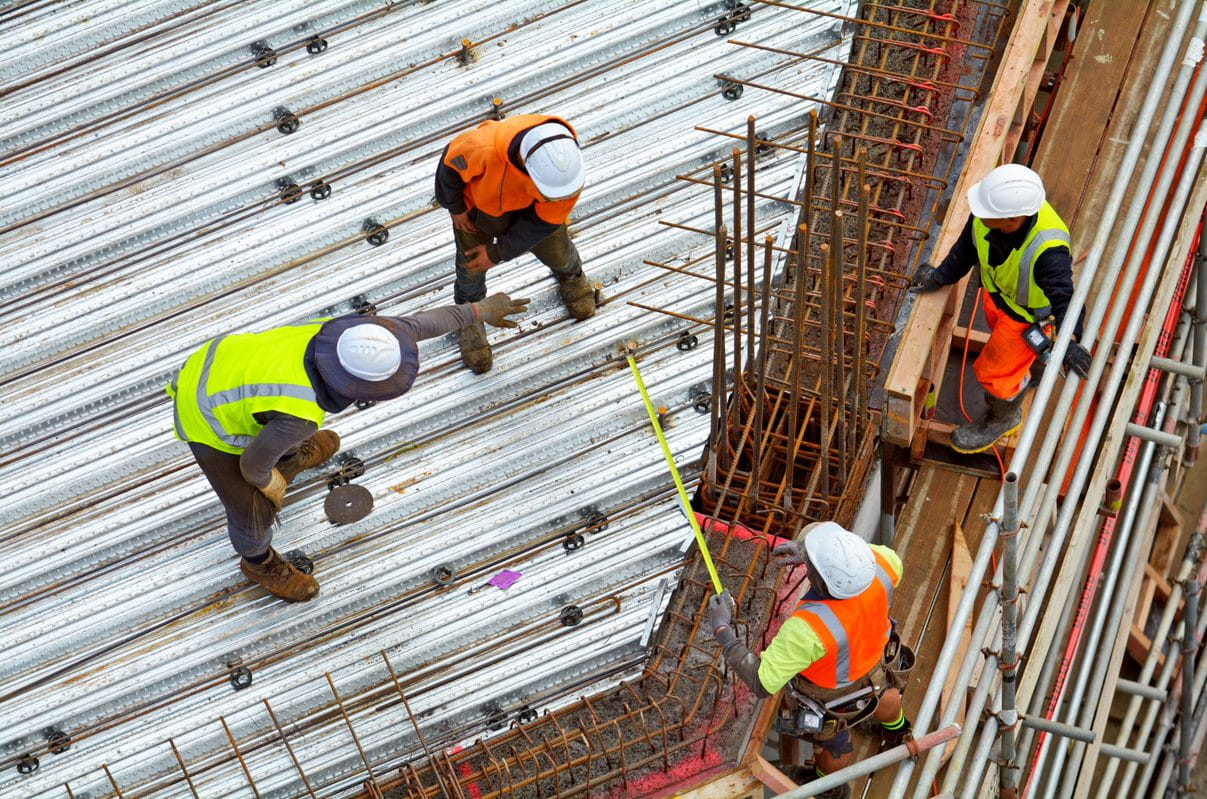 Construction workers working on a job site