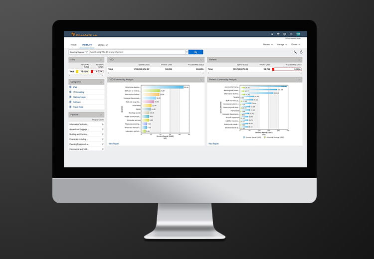 Teaser banner image for page about live demo of SAP Ariba Spend Analysis solution, featuring solution UI screenshot