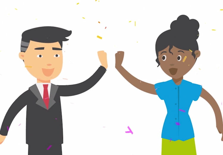 A cartoon illustration of two co-workers high fiving to celebrate