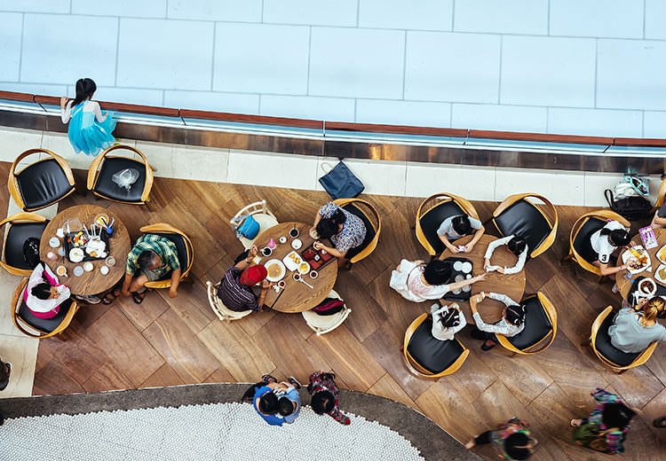 Overhead view of people eating