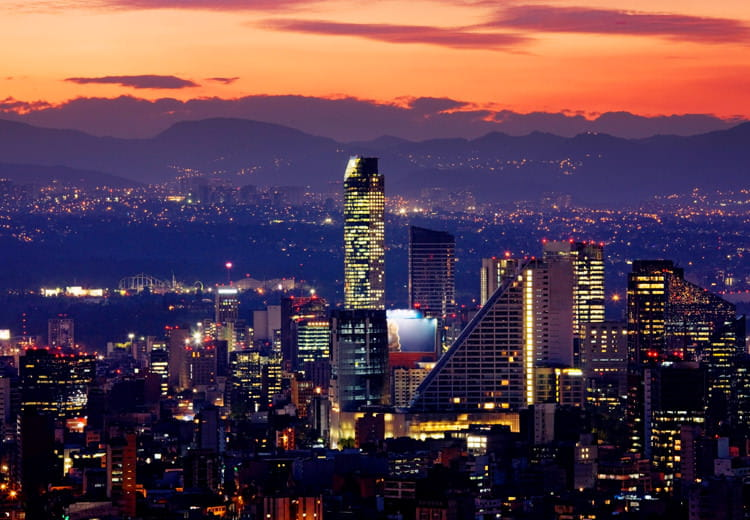 Sunset over the skyline of Mexico City