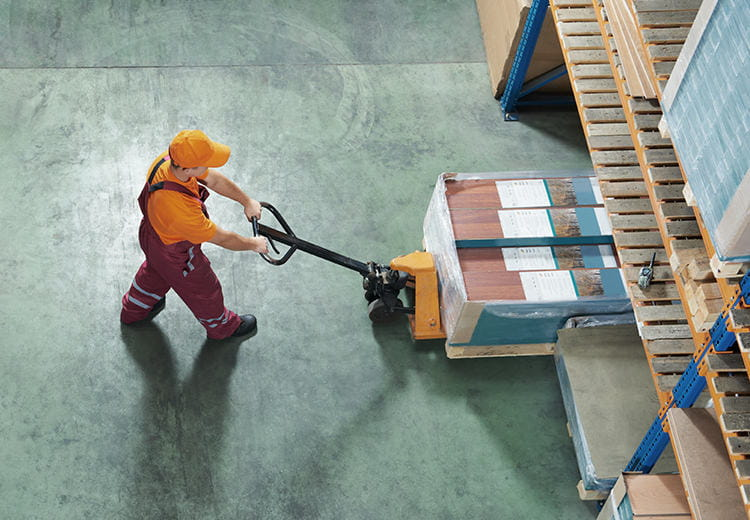 Overhead shot of a man working in warehouse