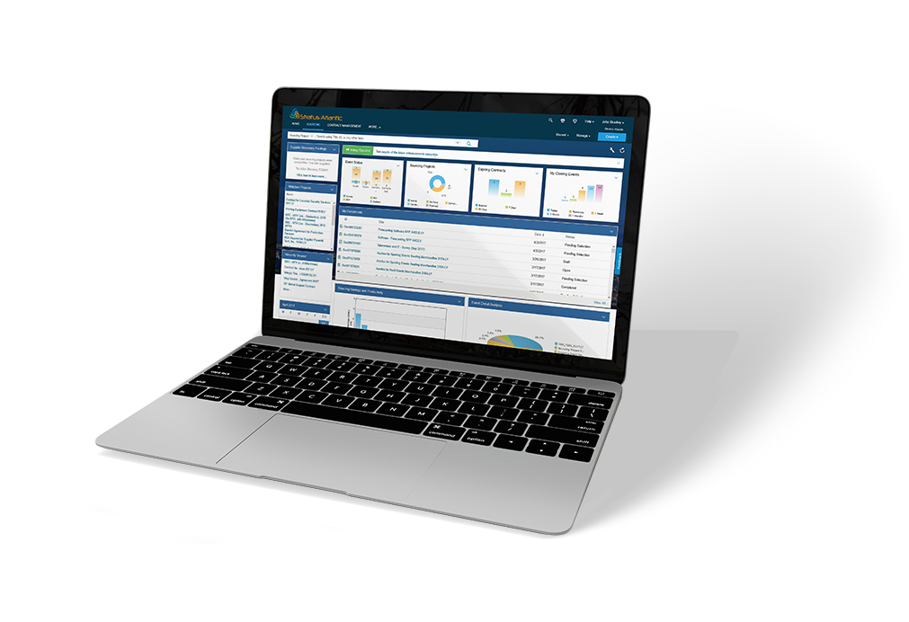 A laptop showing the SAP Ariba Sourcing software on the screen