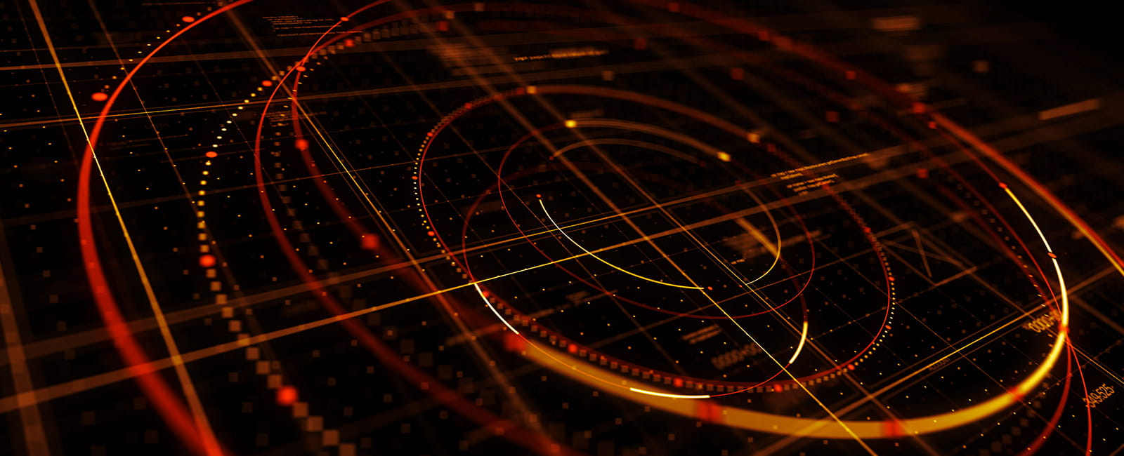 Wide shot of circular data graph illuminated